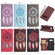 Dreamcatcher Wallet Leather Pouch Case For Samsung Galaxy NOTE8 NOTE 8 Strap Money Pocket Stand Cell Phone Skin Cover 50pcs