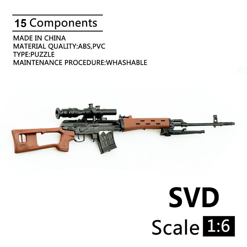 1:6 SVD Sniper Rifle 1:6 Gun Model Black Coated Plastic Military Model Accessories For 12