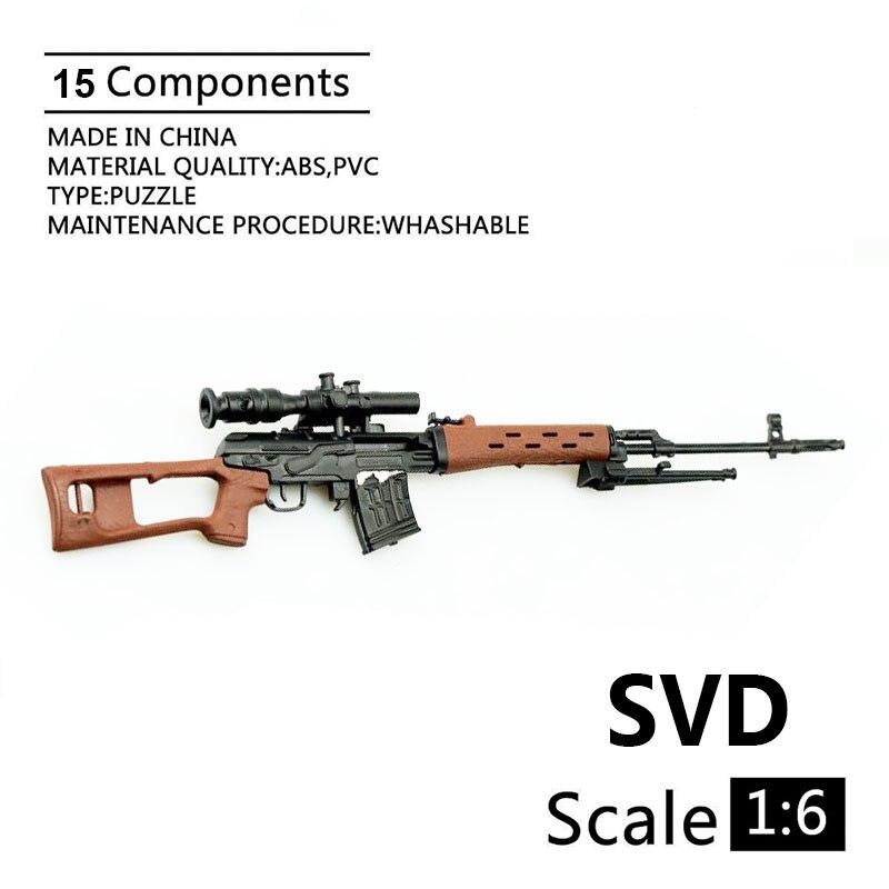 1:6 modelo de Rifle de francotirador de SVD, pistola de 1:6, modelo de plástico recubierto negro, modelo militar, accesorios para exhibición y colección de figuras de acción de 12
