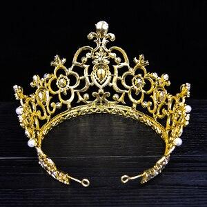 Image 5 - New Vintage Gold Color Luxury Rhinestone Big Tiara Bride Wedding Queen Lager Royal Crown Tiaras Hair Jewelry Hair Accessories