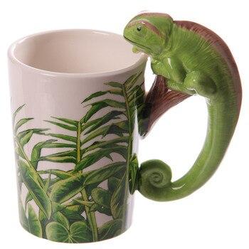 1 sztuka lasów deszczowych naklejka kameleon kubek ceramiczny Jungle Explorer 3D kameleon uchwyt w kształcie zwierząt kubek kawy prezenty