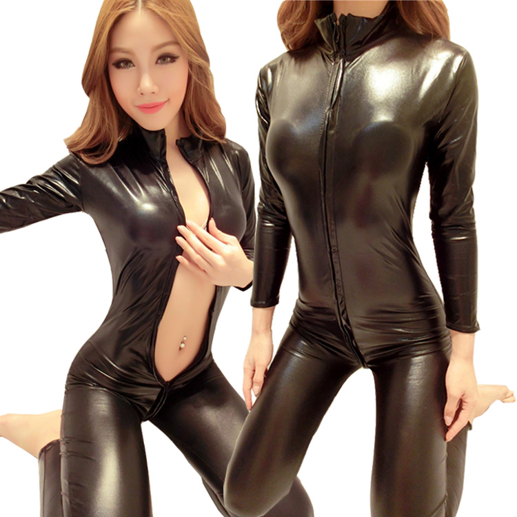 Pvc leather catsuits lingerie
