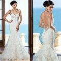 Nuevo 2017 backless atractivo de la sirena de la boda vestido de apliques de encaje con cuentas vestidos de novia vestidos de novia vestido de noiva robe de soirée