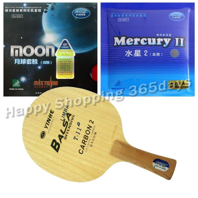 Pro Tennis De Table PingPong Combo Raquette YINHE Galaxy T-11 + avec Lune Usine À L'écoute et Mercure II shakehand long manche FL