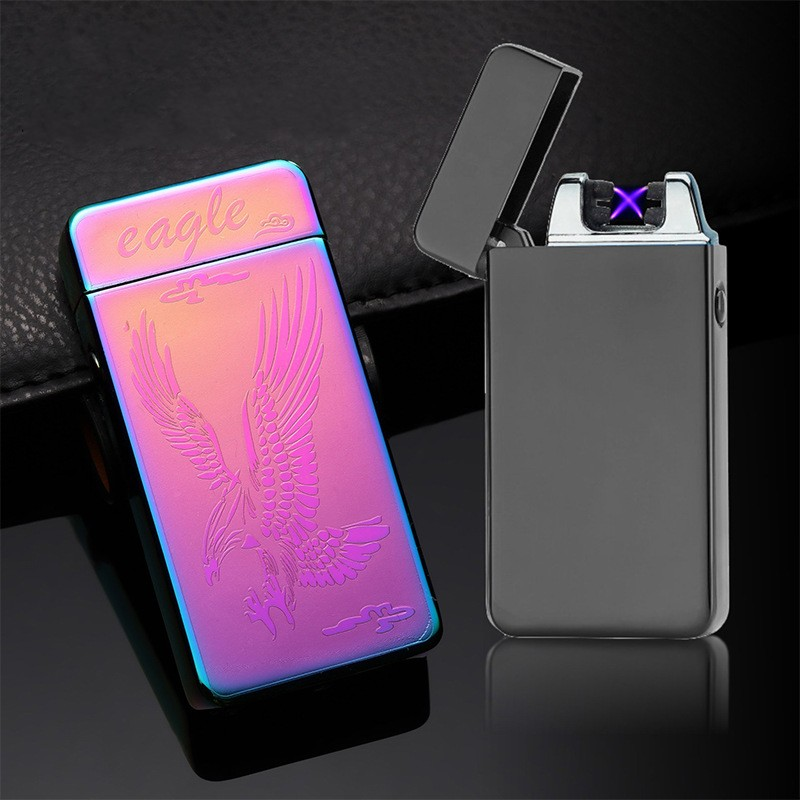 Novelty USB Lighter Dual Arc Pulse Lighter Rechargeable Double Fire Cross Electronic Cigarette Lighters Windproof Flameless