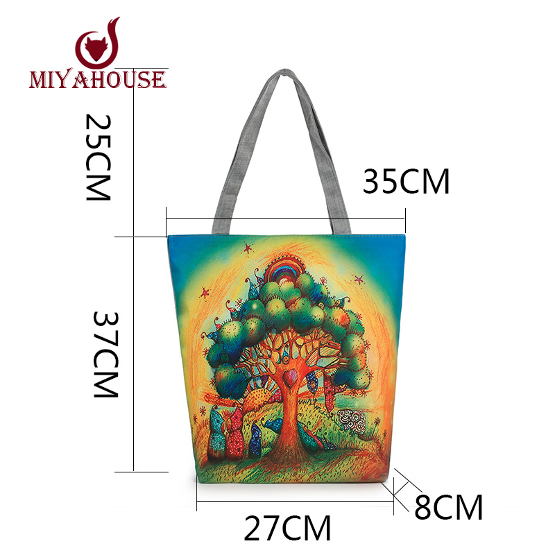 Colorful Owl Printed Canvas Tote Handbags Daily Use Canvas Shopping Bag For Women Beach Bags Female Casual Single Shoulder Bags