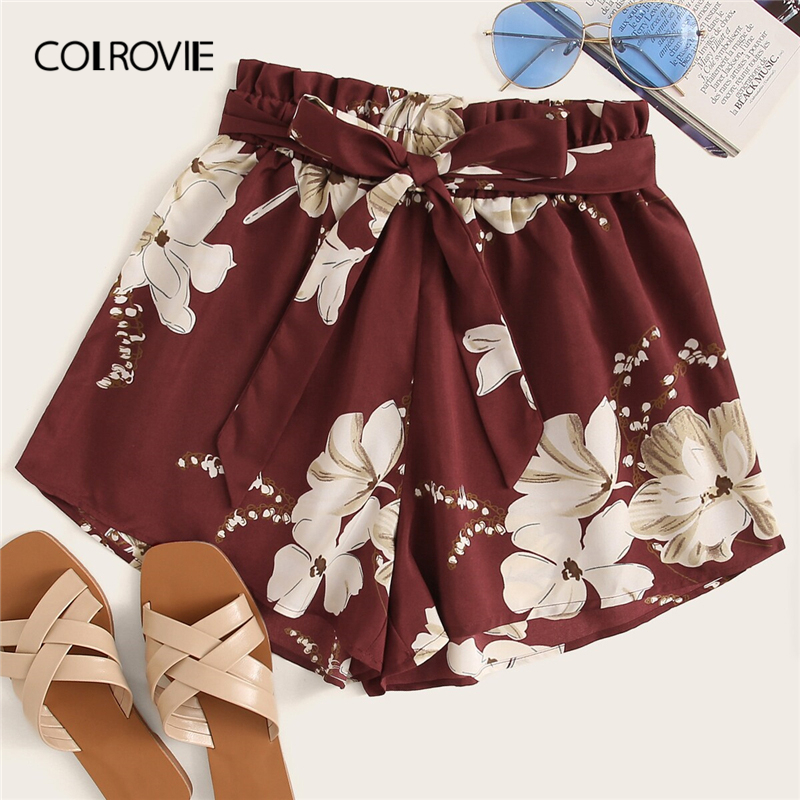 COLROVIE Burgundy Floral Print Self Tie Boho Summer Shorts Women 2019 Summer Holiday Wide Leg Beach Vacation Ladies Shorts