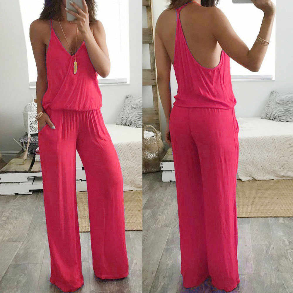 Feitong Комбинезоны для женщин 2018 женские Vneck Спагетти ремень широкие ноги Комбинезоны женские Комбинезоны модные Боди женские боди mujer