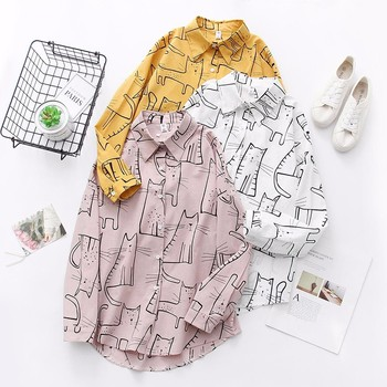 Cat Print Loose Casual Blouse 1
