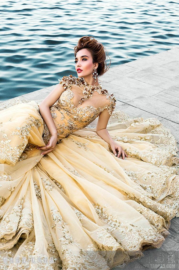 Gold Dress For Party Wedding Dress Fantasy Girls Big Long Train 2015 ...