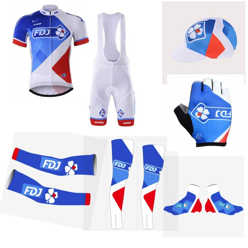 team FDJ 7PCS full set 100% Polyester cycling jersey Short sleeve quick dry bike clothing MTB Ropa Ciclismo Bicycle maillot GEL veobike winter thermal brand pro team cycling jersey set long sleeve bicycle bike cloth cycle pantalones ropa ciclismo invierno