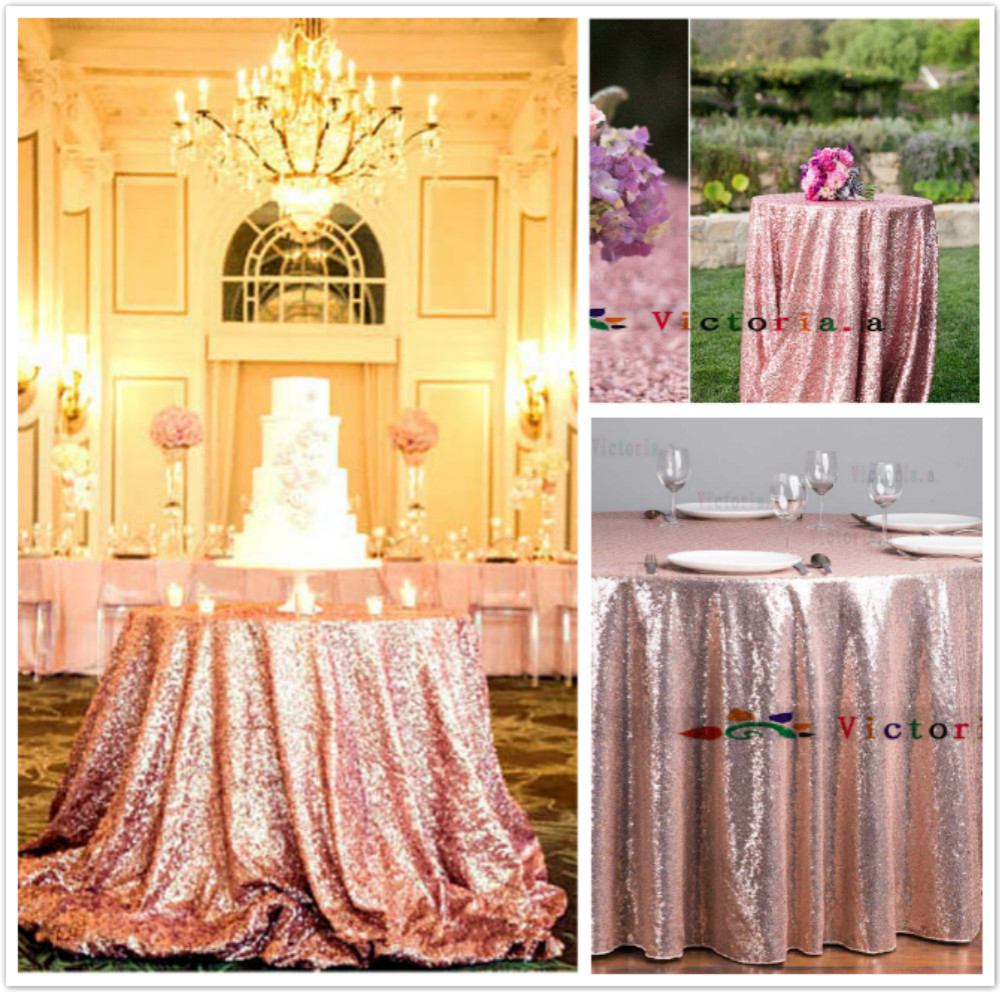 156 Inches/396 CM Rose Gold Round Embrodiery Mesh Lace Sequin Fabric Tablecloth Sequin Table Cloth Pink Gold Wedding Decoration