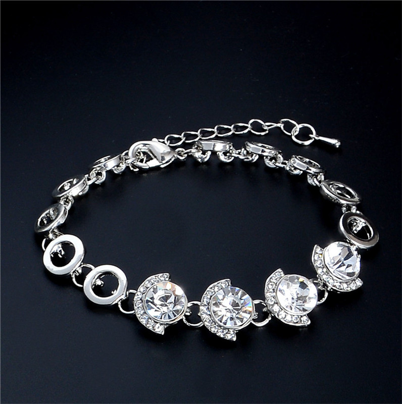 QCOOLJLY Fine Pattern Design 1pc Silver Color Striking Australia Crystal Woman's Fine Beads Bracelet