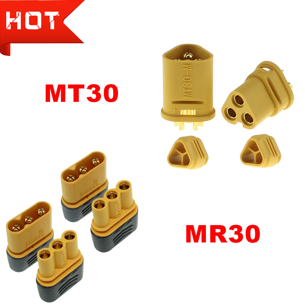 Amass MR30 MT30 Connector Plug Upgrated Of XT30 Female & Male Gold Plated For RC Lipo Battery Parts Quadcopter Multicopter