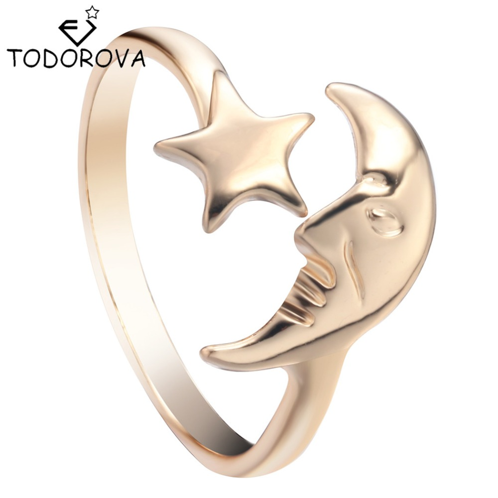 Todorova Wholesale New Simple Crescent Moon Star Ring Adjustable Open Ring Silver Jewelry For Men Women