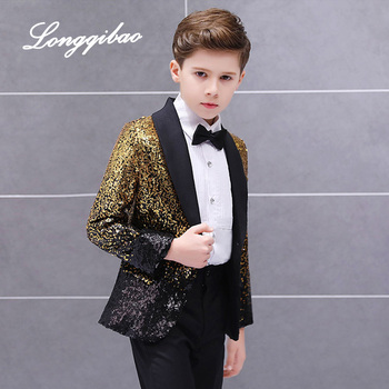 Free Shippinghigh quality Children's Suit Boys Dress Catwalk Costume Sequins Small Host Stage Model Handsome Clothing - discount item  39% OFF Children's Clothing
