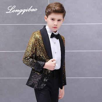 Free Shippinghigh quality Children's Suit Boys Dress Catwalk Costume Sequins Small Host Stage Model Handsome Children's Clothing - DISCOUNT ITEM  40% OFF All Category