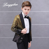 Free Shippinghigh quality Children's Suit Boys Dress Catwalk Costume Sequins Small Host Stage Model Handsome Children's Clothing