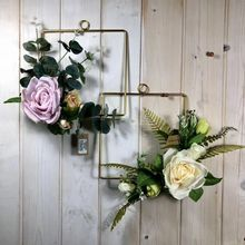 Floral Hoop Wreath Geometric Metal Garland Artificial Rose Flower Wall Hanging Ornament  Home Garden Office Decoration