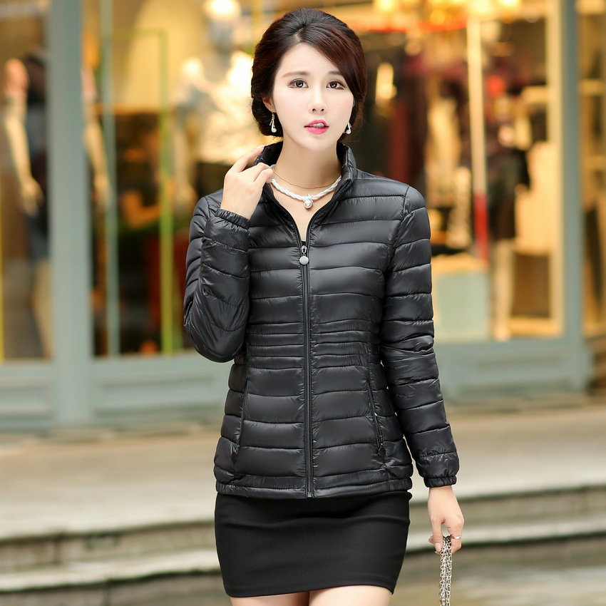 WAEOLSA Woman Puffer Basic Coat Red Black Quilted Jacket Winter ...