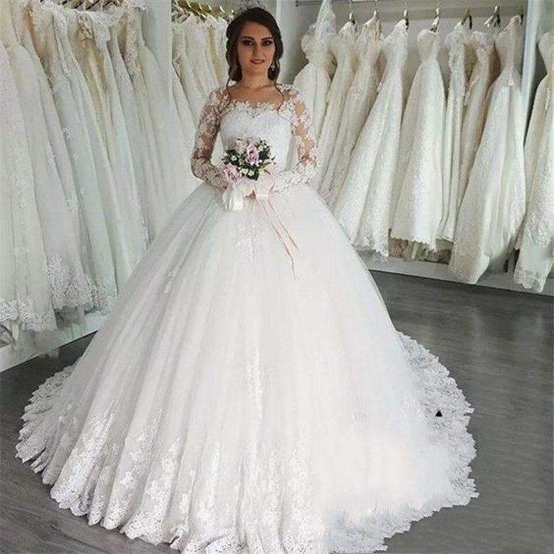Gorgeous Sheer Ball Gown Wedding Dresses 2017 Puffy Beaded: Elegant Long Sleeves Lace Ball Gowns Wedding Dresses For