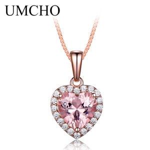 Image 4 - Umcho sólido 925 prata esterlina pingentes colares para as mulheres rosa morganite charme pingente de coração para presente da menina jóias finas