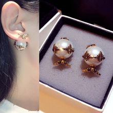DZ Hot Bronze Double Pearl Bee Flower Stud Earring With 925 Silver Ear Pin Women Wedding Brass Double Pearl Bee Stud Jewelry(China)