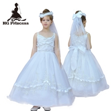 Free shipping Formal Child Ball Gowns 6 Years Flower Girl Dresses For Weddings Tulle Embroidery White First Holy Communion Dress