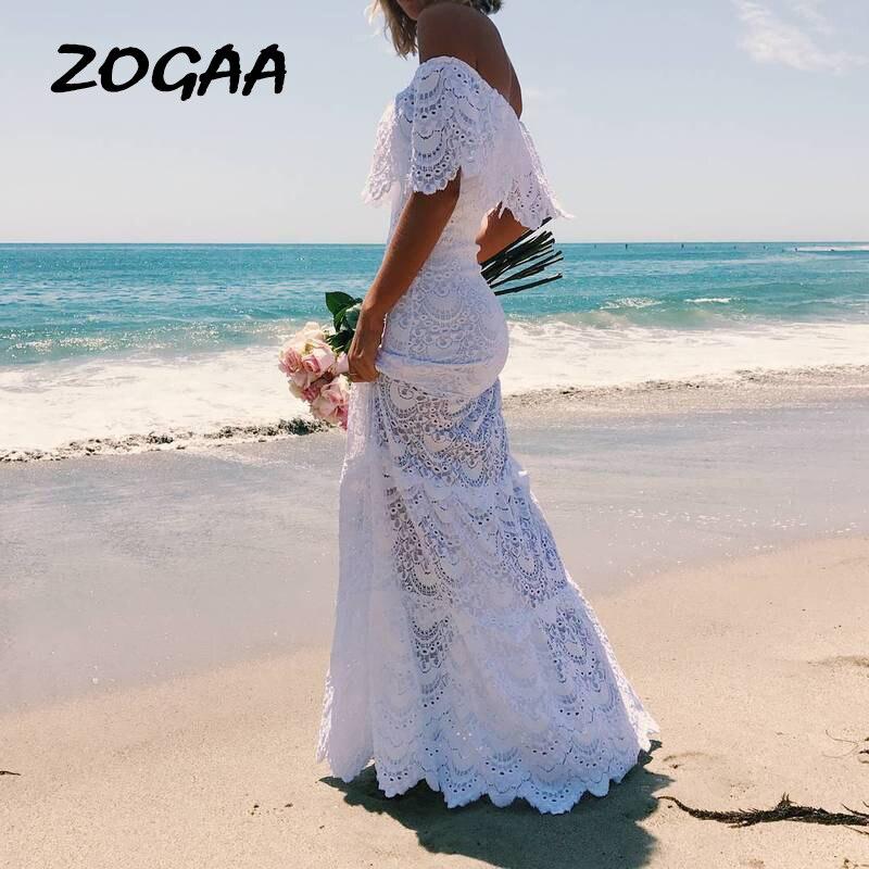 Women Long Dresses 2019 Plus Size Beach Tunic Kaftan Summer 2019 Womens Clothes White Bohemian Sexy Lace Off Shoulder Dress Ropa