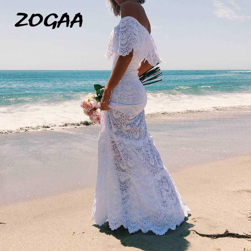 נשים ארוך שמלות 2019 בתוספת גודל חוף טוניקת קפטן קיץ 2019 נשים בגדים לבן בוהמי סקסי תחרה כבוי כתף שמלה ropa