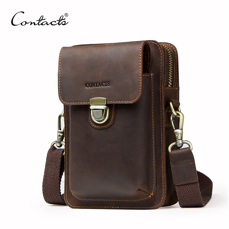 CONTACT'S Genuine Leather Men Waist Bag For Cell Phone Vintage Travel Male Fanny Pack Metal Buckle Shoulder Bag With Card Holder