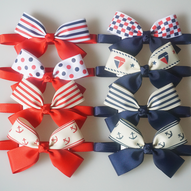 Navy Style Pet Bow Ties Dots Anchor Striped Pattern Cat Puppy Ribbon Bowtie 8 Colors Dog Neck Collar Pet Grooming Accessories