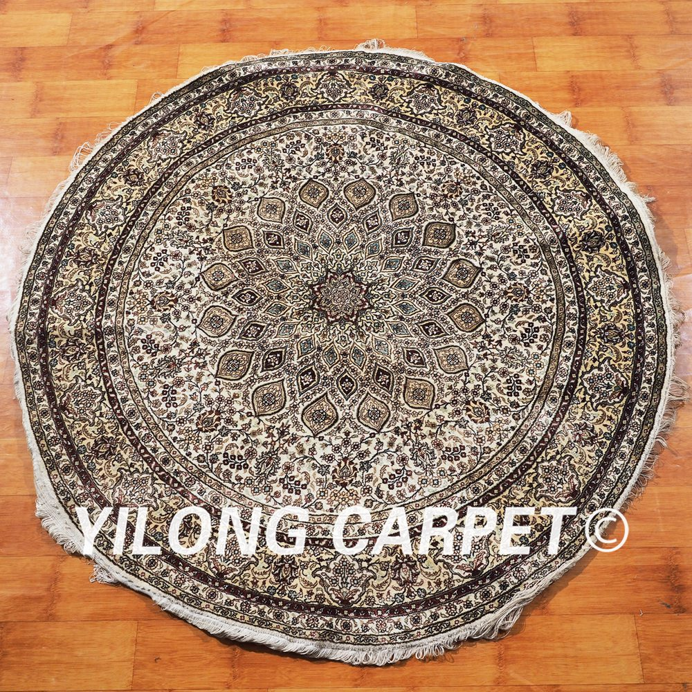 Round Dining Room Rugs: YILONG 5'x5' Handwoven Silk Persian Round Carpet Dining