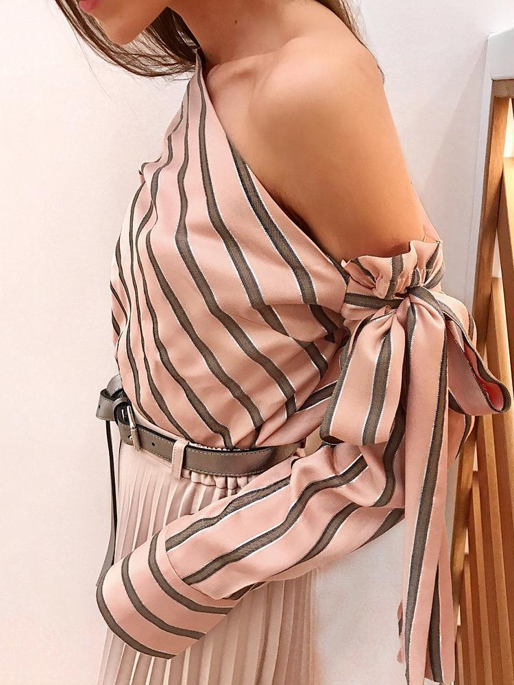 Women One Shoulder Tops Striped Long Sleeve Pullover Bow Casual Elegant Office Ladies Chiffon Blouse Female Shirts Fashion