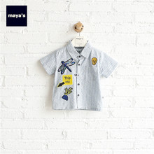 Mayas Applique Striped Summer Boys Shirts Children Plaid Printed Spring Fashion Tops Kids Fashion New Basic Tops Wear 81311(China)