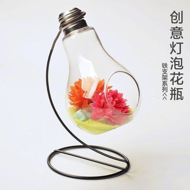 Free Shipping Glass Bulb Vase Vase Hydroponic Iron Handicraft