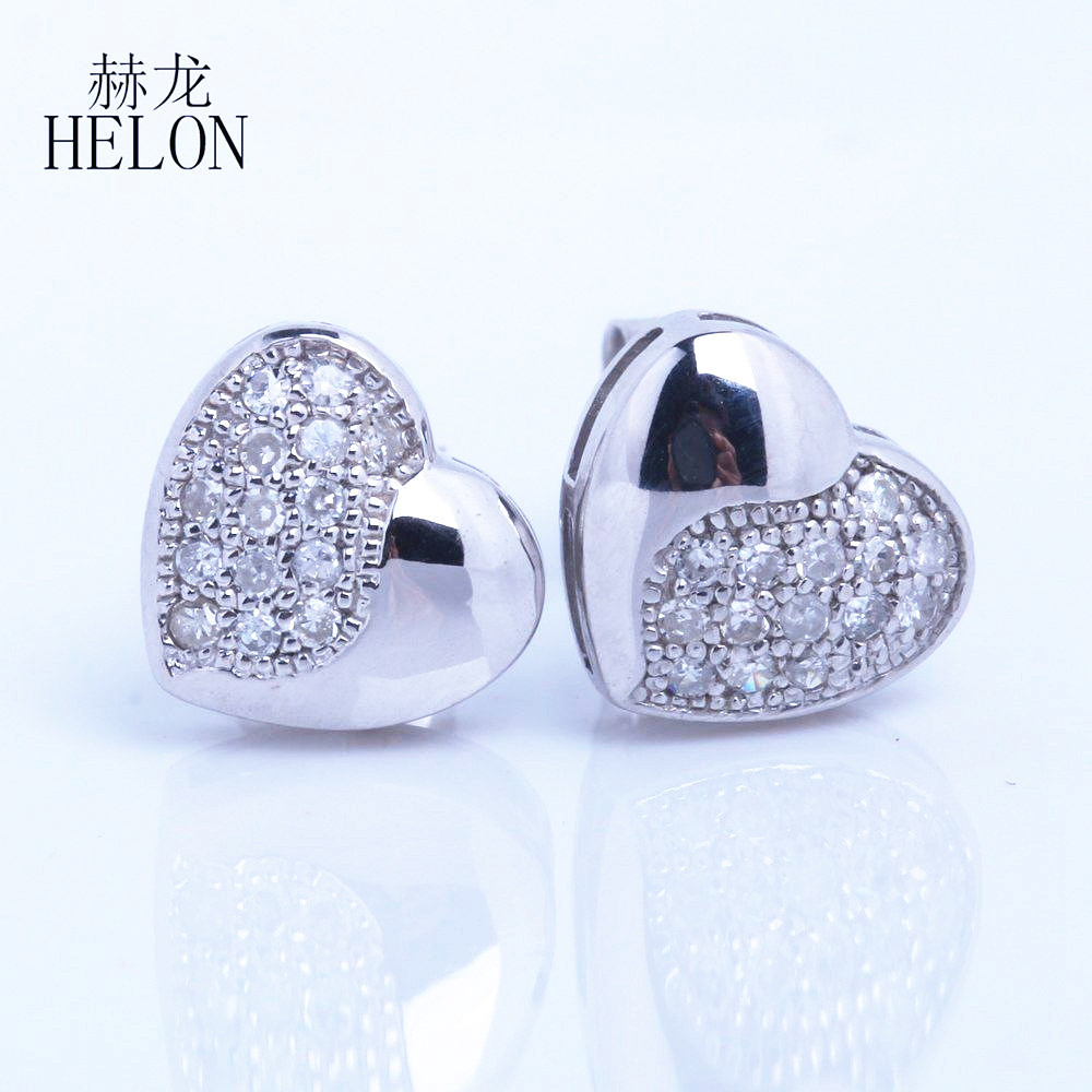 HELON Cute Sweet Heart 925 Sterling Silver Earrings Cubic Zirconia Stud Earrings For Women Anniversary Gifts For Women Jewelry new hot sale 2016 korean style boy autumn and spring baby boy short sleeve t shirt children fashion tees t shirt ages