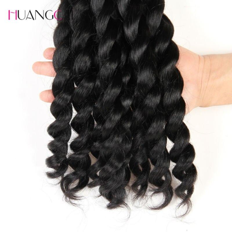 Français torsion cheveux brésiliens tisse 3 faisceaux 100% Extensions de cheveux humains Meches Bresilienne 3 Pcs/lot Huangcai - 4