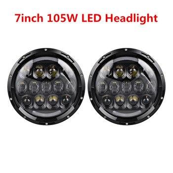 Pair 105W 7 Inch Round LED Headlight Turn Signal DRL Fit for Jeep Wrangler FJ LJ JK Unlimited CJ Scranbler