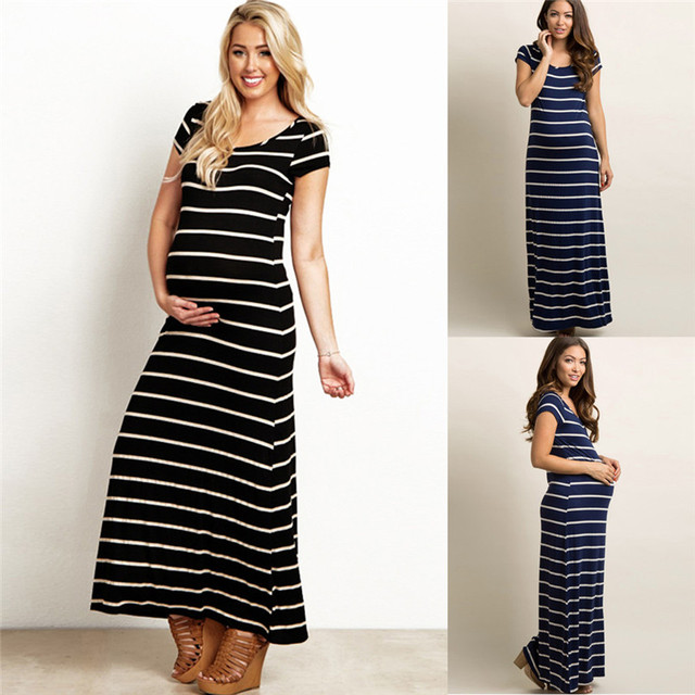 7c7418e66dc64 Summer Maternity Clothes Fashion Women Pregnant Maternity Striped Short  Sleeve Ankle-Length Dress Casual Pregnancy Dress JE21#FN