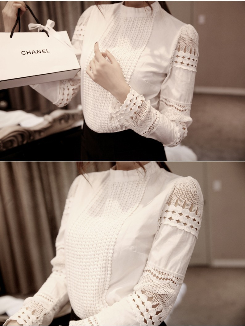 YEYELANA Women Blouses 2018 Spring Summer Long Sleeve Shirt Women White Lace Blouse Camisas Femininas Woman Tops Clothes A002 10