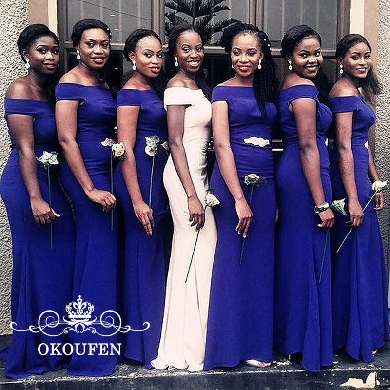 2019 Mermaid   Bridesmaid     Dresses   With Short Sleeves Off Shoulder Beads Royal Blue Satin Long Party   Dress   Maid Of Honor For Women