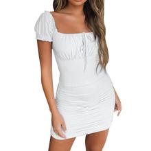 Women Summer Solid Print Square Neck Short-Sleeved Lace Up Ruched Bodycon Mini Dress