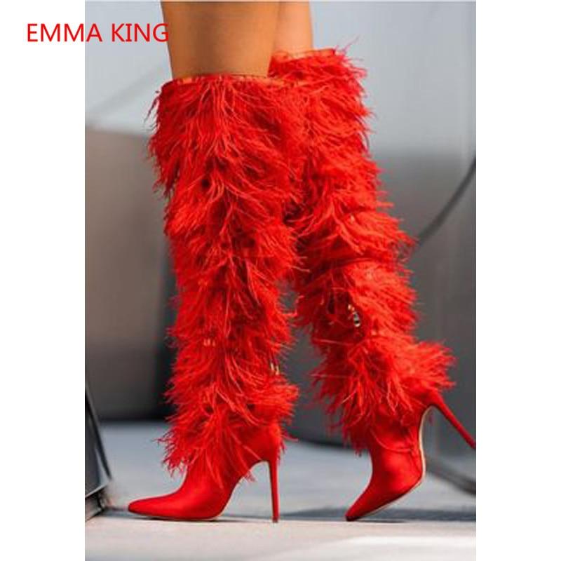 De Martin as Haut Le Piste Chaussures Bottes Bout Femmes Sur Sexy As Luxe Picture Hauts Plume Zipper Genou Talons Pointu Picture SYax4p