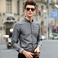 2016 Fashion Spring Men Shirts Cotton Solid Slim Fit High Quality Casual Shirts Man Social Shirts (2 size small than EUR size)