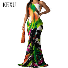 KEXU Women Printing Party Dress Popular Sleeveless Backless Halter Sexy Long Vestidos Elegant Vintage Hollow Out Maxi Dresses
