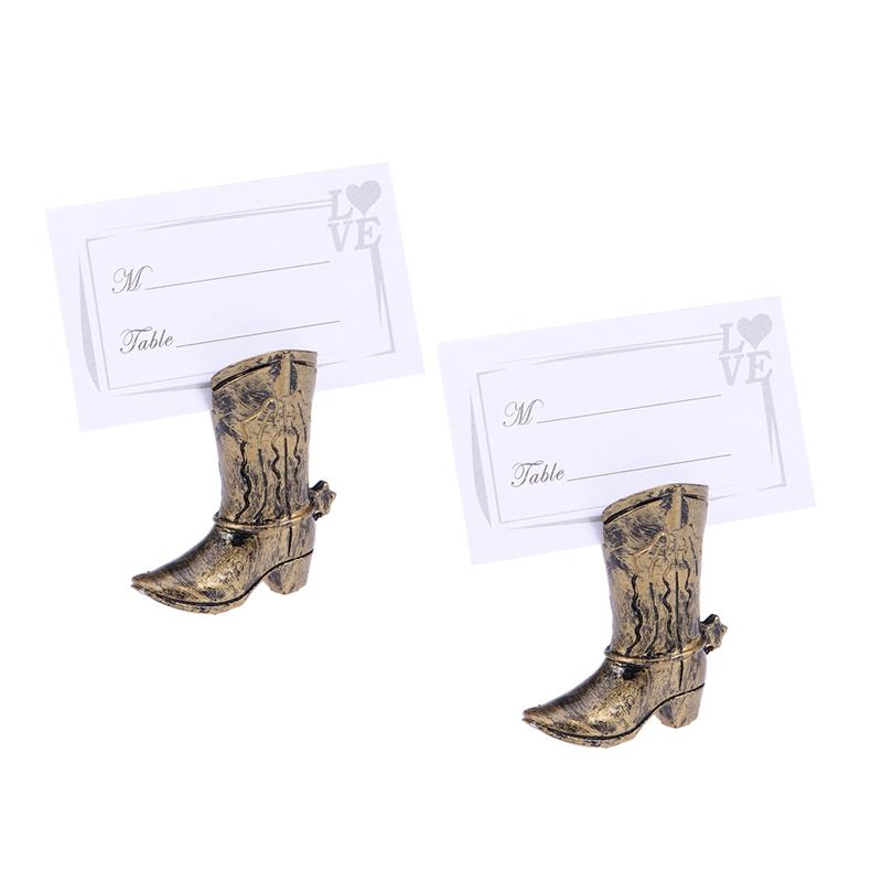 2pcs Boot Place Holder Retro Creative Beautiful Place Card Holder For Wedding Hotel Bride image