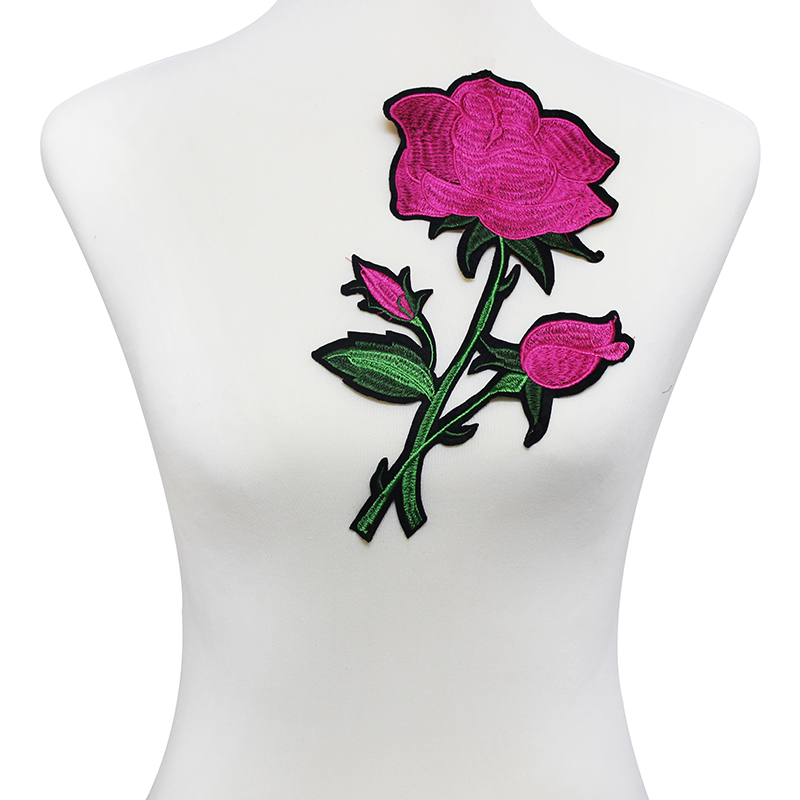 ᐂ10 piezas Rose-carmín flor Parches bordado applique coser en ...