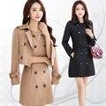 M-4xl alta qualidade 2016 nova primavera coreano plus size mulheres slim fit windbreaker OL 2-piece set roupas femininas set escritório workwear