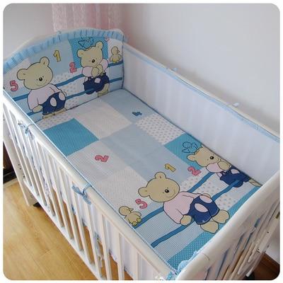 ФОТО Promotion! 5PCS Crib Bumper Baby Bedding Set for Newborn Kids Children Cot Sets cot bedding ,include:(bumper+sheet)